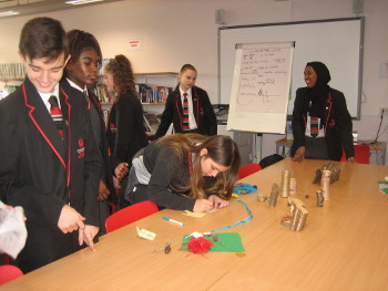 Year 7s at Chalk Hills Academy get creative in a storytelling workshop. Jane Lambourne of Wassledine, leads a session in school