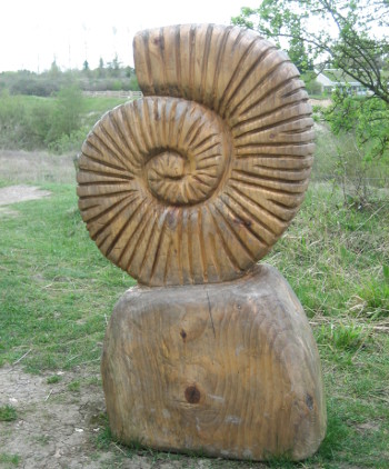 A carved wooden ammonite at College Lake. Very much part of the Wildlife Trust's Geology Rocks day