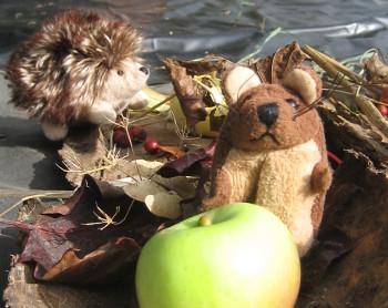 Mouse and hedgehog enjoy a woodland feast - Reception