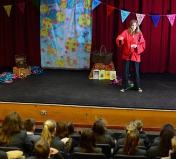 Jane Lambourne on stage at the Welland Park Academy