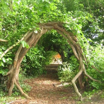 A woodland area of the school grounds provides a wonderful setting for Jane Lambourne's storytelling workshops