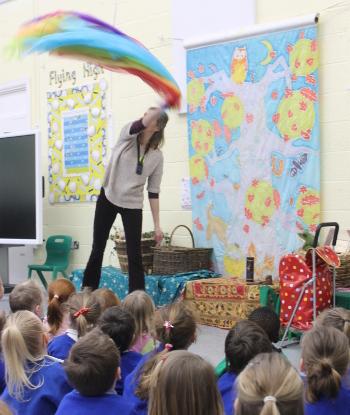 Jane of Wassledine in full flow - telling a story for 300 pupils
