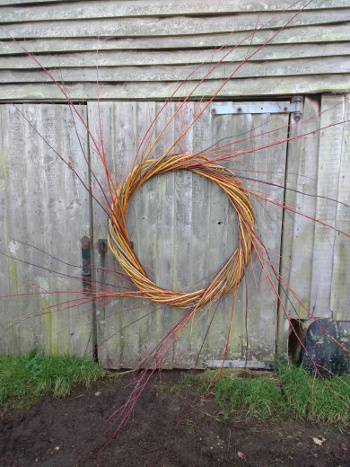 A 1 metre diameter willow wreath with lots of extra willow sprays - Wassledine