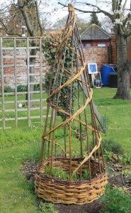 A Wassledine willow obelisk in a customer's garden
