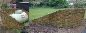 A woven willow screen