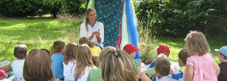 Storytelling in the woods in Gravenhurst, Bedfordshire on Wednesday 28 August 2019