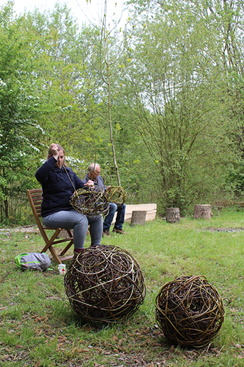 Making willow balls in the woods. Saturday 2nd May 2020