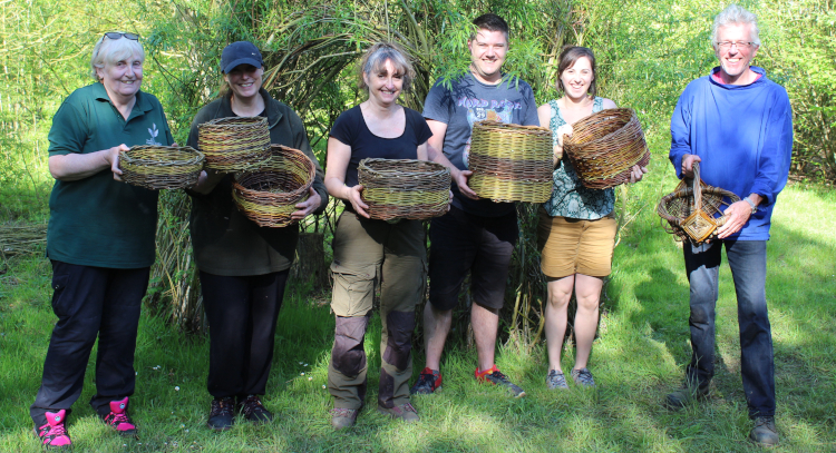 Basket makers in May 2018 enjoying the fruits of their labours - Ed Burnett teaches basket making at Wassledine
