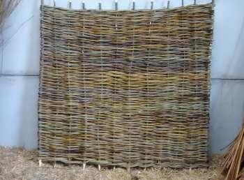 One of Wassledine's 6 feet square willow hurdles ready for installation