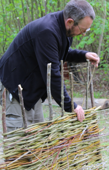 Making a willow hurdle in Bottoms' Corner wood