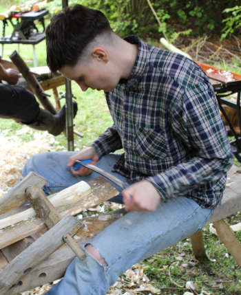Using a draw knife and shave horse to produce a spoon or spatula. A day in the woods, Wassledine