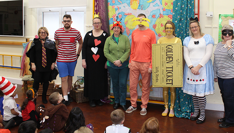 Sundon Lower School staff in fabulous costume for World Book Day. With Jane Lambourne storytelling