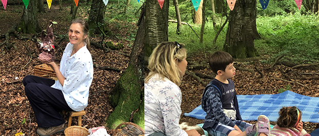 Jane Lambourne of Wassledine Storytelling in action at Bottom Wood, for the Chiltern Society