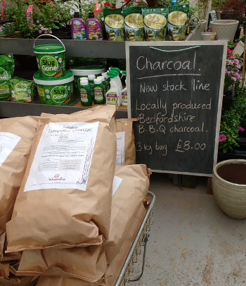 Our charcoal for sale in 3kg bags at Stephen's Plants in Maulden