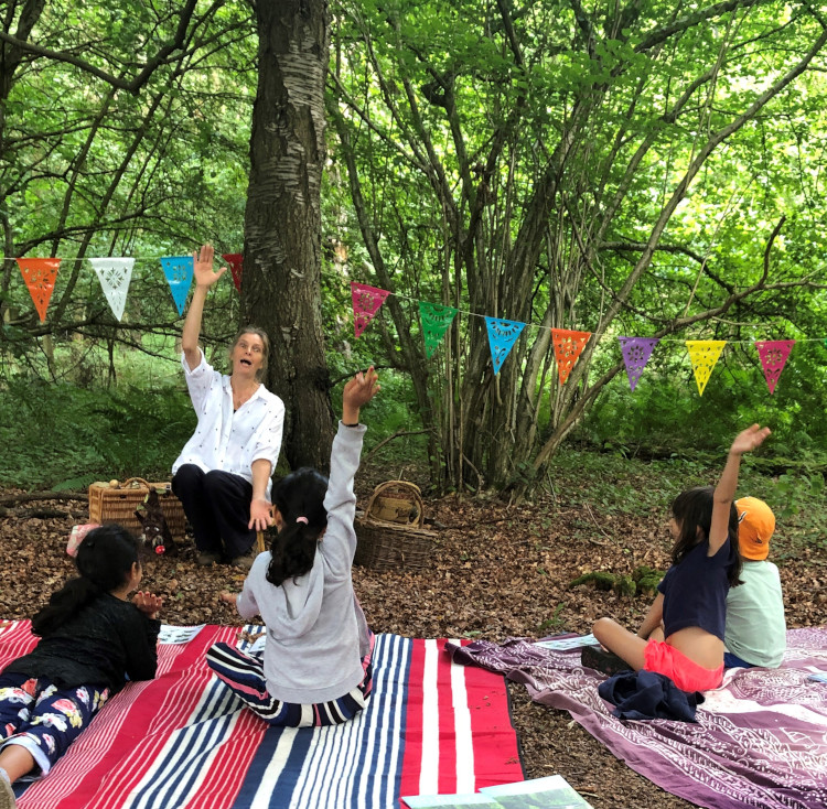 Jane tells stories at Bottom Wood for the Chiltern Society
