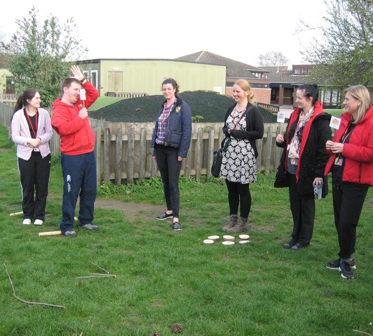 Jane Lambourne storytelling trainiing at Queen's Park School, Bedford
