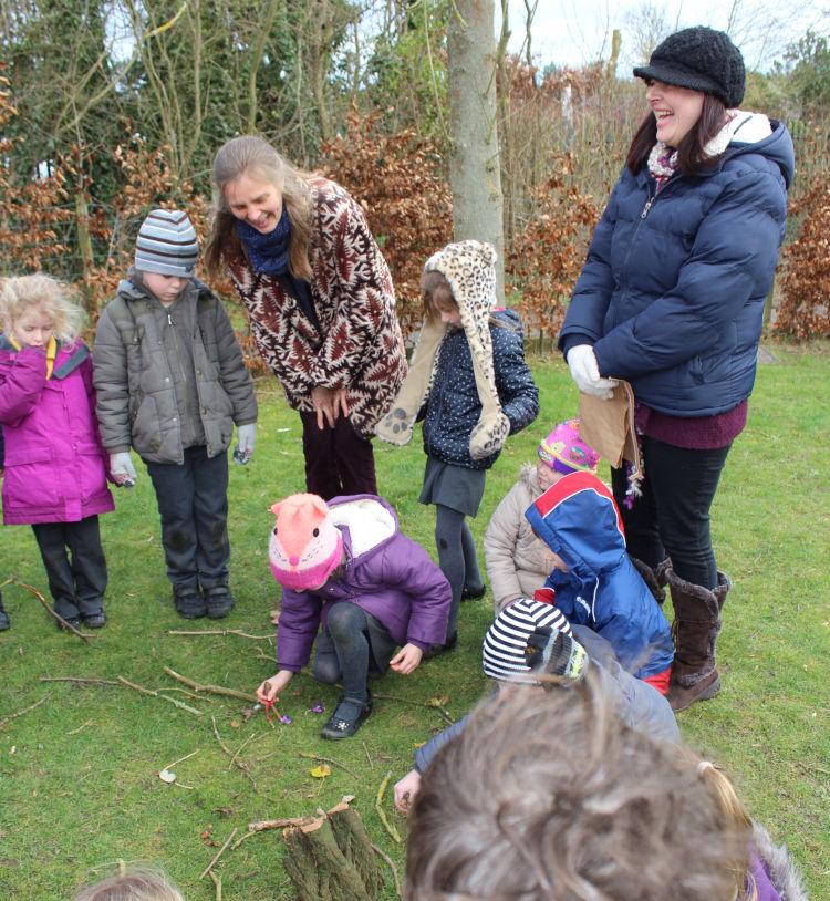 Jane at Gravenhurst Lower School running a Nature's Theatre workshop