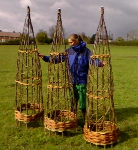 Three 7 foot tall willow obelisks