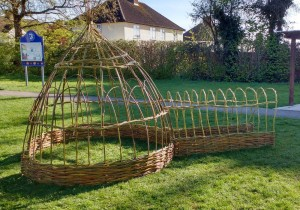 A willow dome with attached tunnel